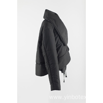 short black padding coat with big collar